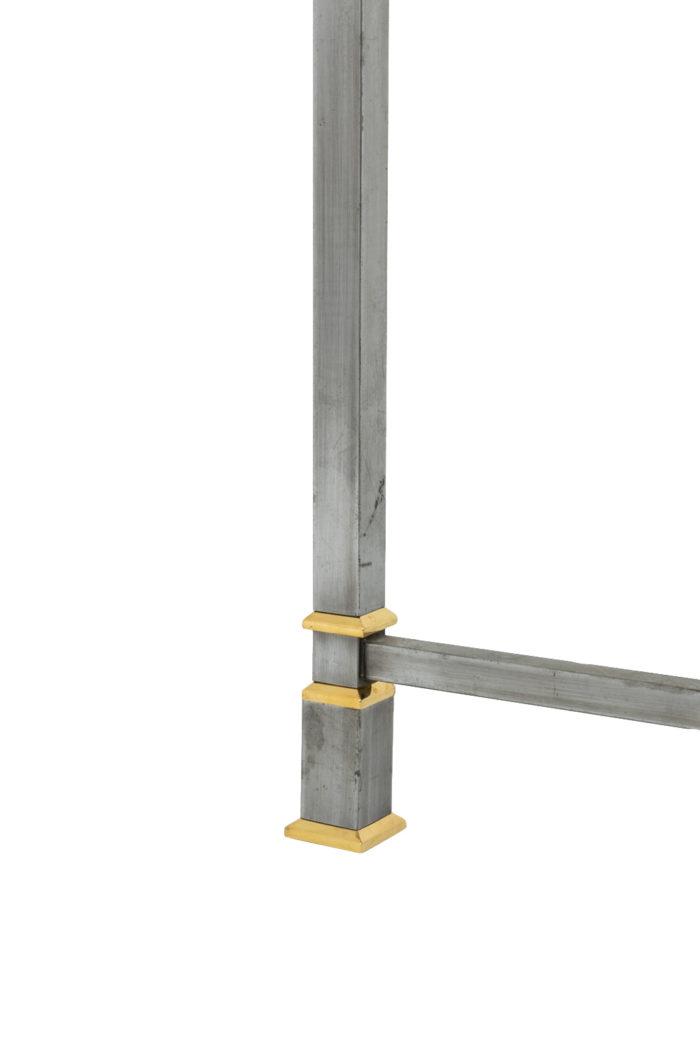 table métal brossé pied doré