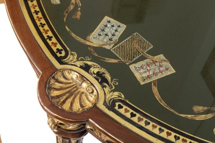 table à jeux style louis xvi coquille dorée
