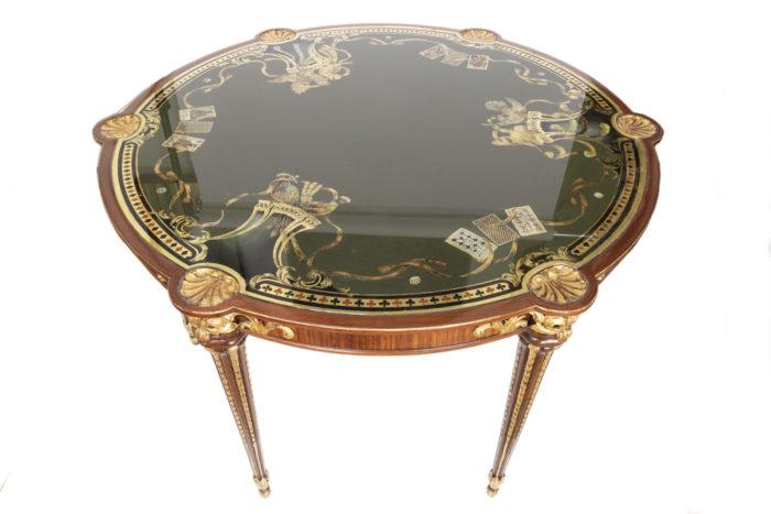 table à jeux style louis xvi satiné fixé sous verre