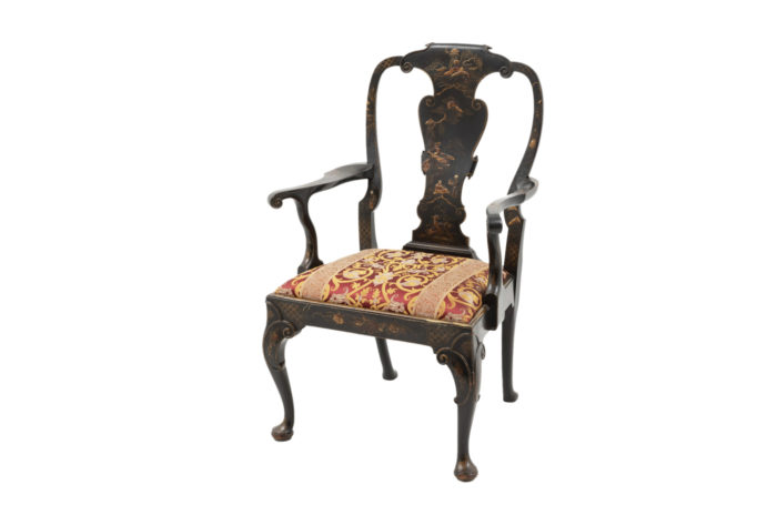 chippendale armchair black lacquered chinese style