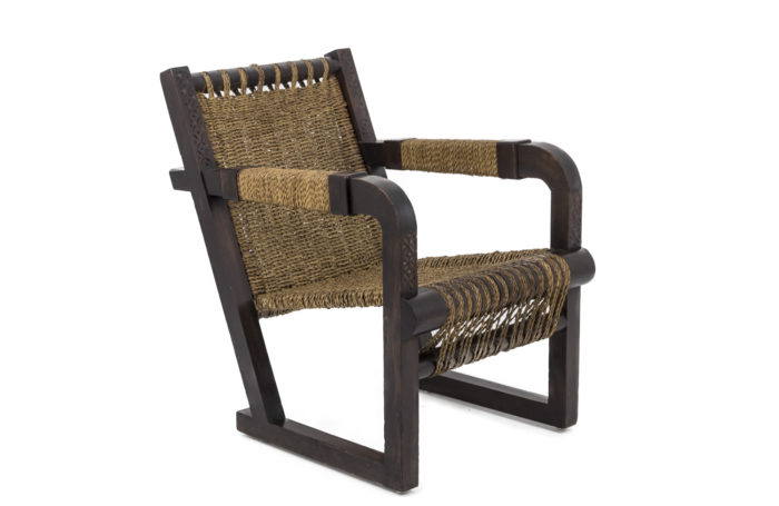 art deco armchair pitchpine rope