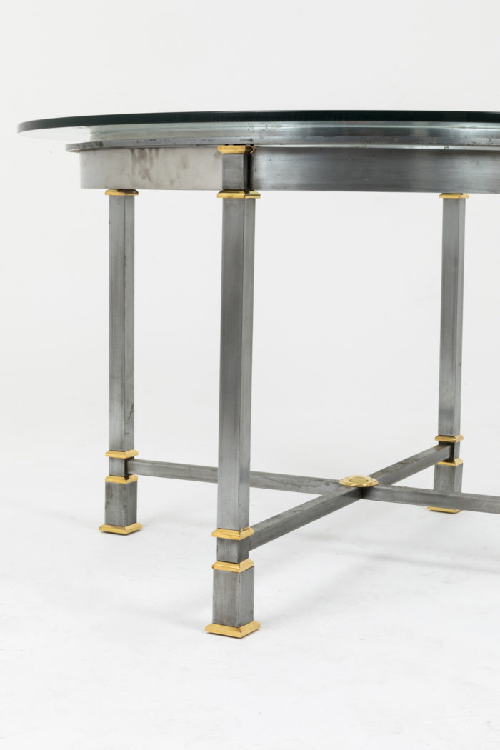 table métal brossé pieds