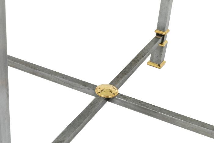 table métal brossé entretoise