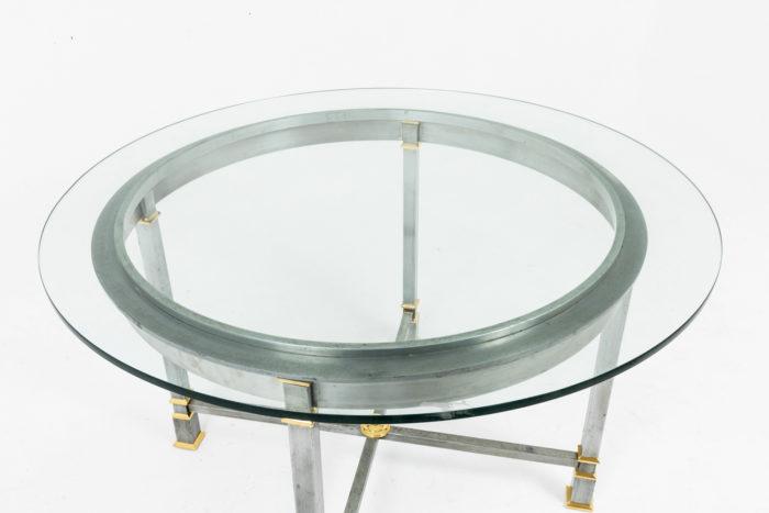 table métal brossé plateau verre