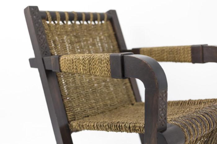 fauteuil art déco pitchpin corde accotoir