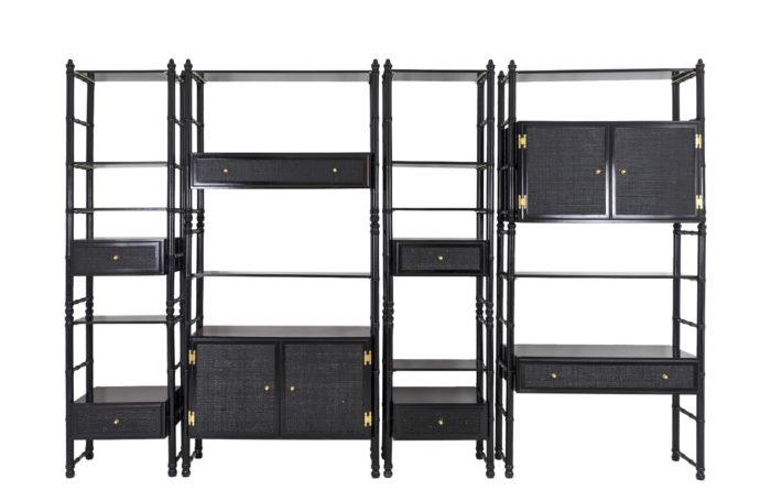 black lacquered false bamboo shelf