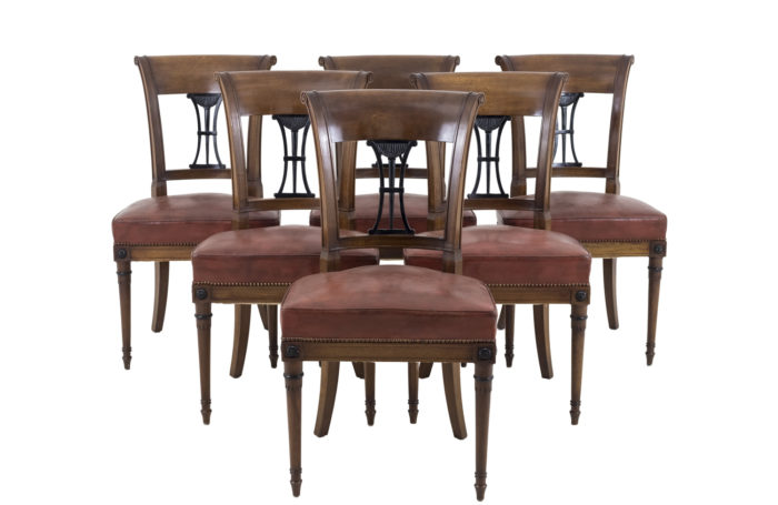 directoire style chairs mahogany leather