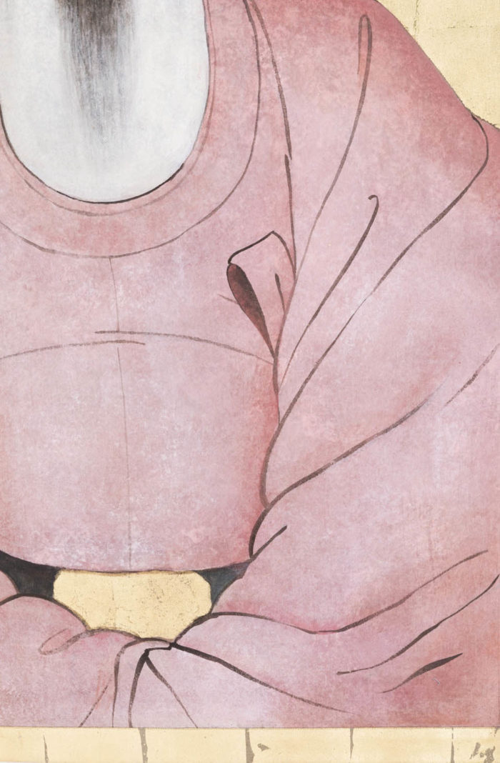 toile dignitaire chinois manteau rose ceinture