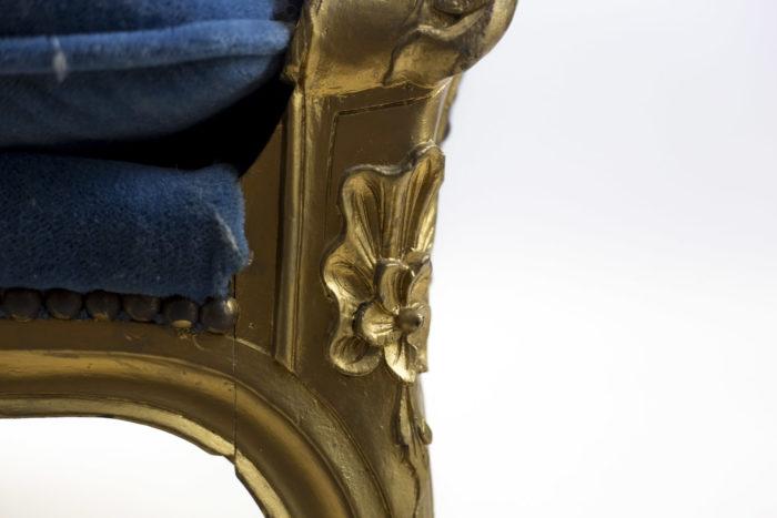 bergères à oreilles style louis xv fleur bois doré