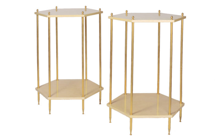 hexagonal cream lacquered end tables