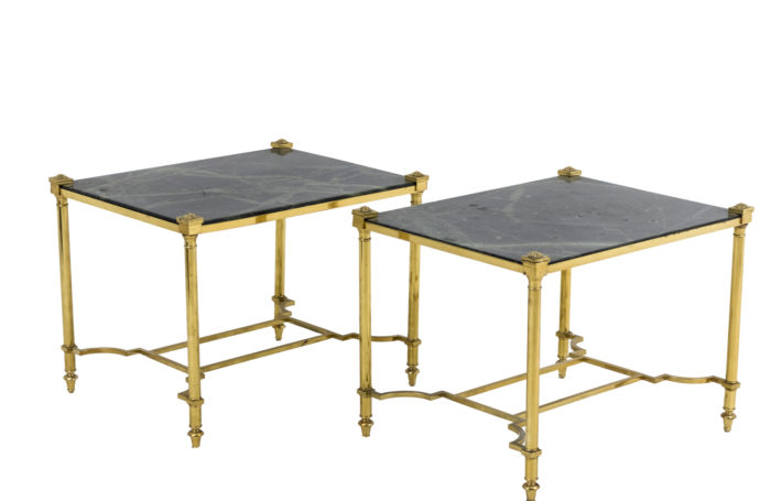 end tables gilt brass green marble