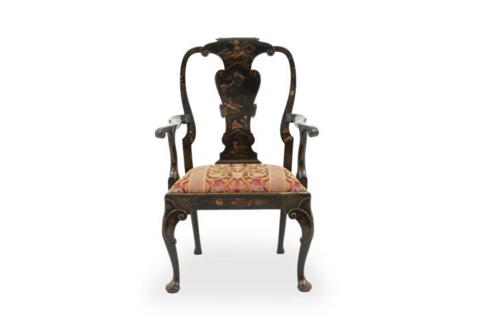 fauteuil chippendale chinoisant laqué noir