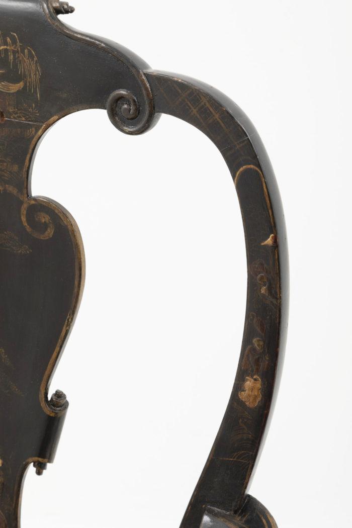 fauteuil chippendale décor or dossier
