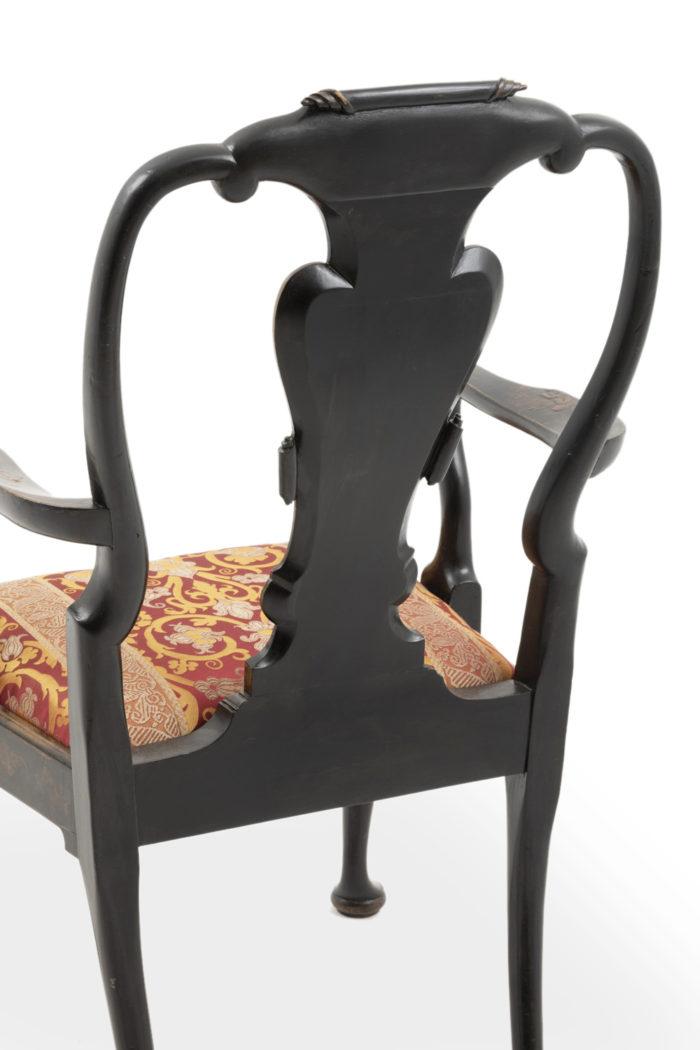 fauteuil chippendale laqué noir dos