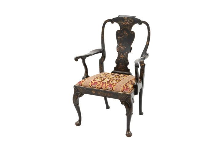 fauteuil chippendale laque noir chinoisant