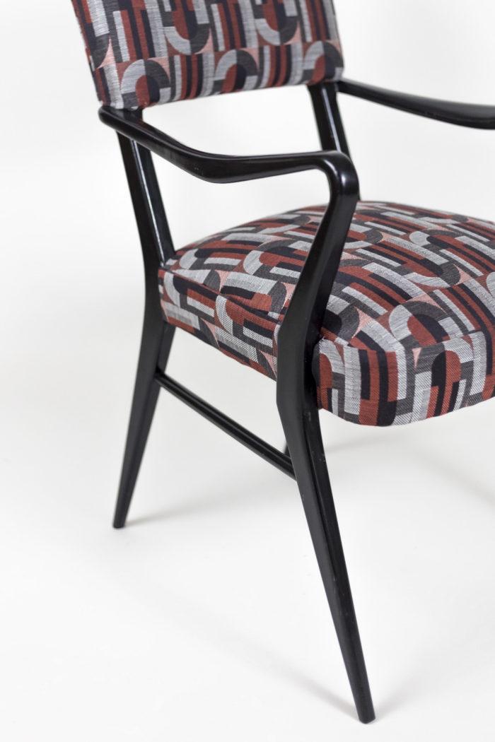 fauteuil italien style ico parisi laque noire angle detail
