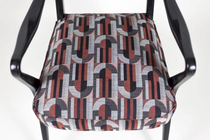 fauteuil italien style ico parisi laque noire assise