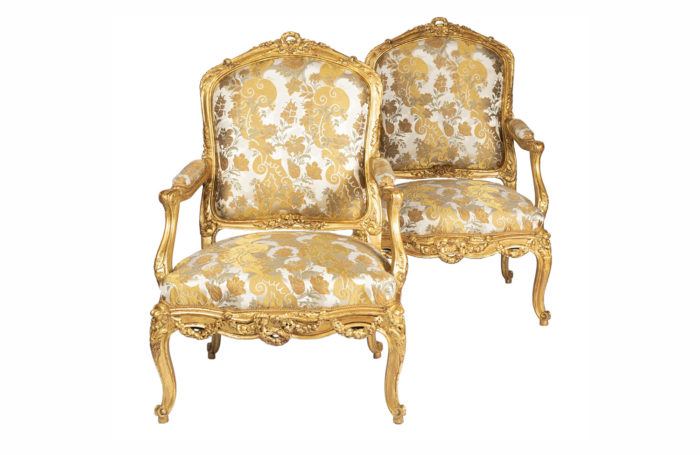 louis xv style armchairs gilt wood rubelli fabric