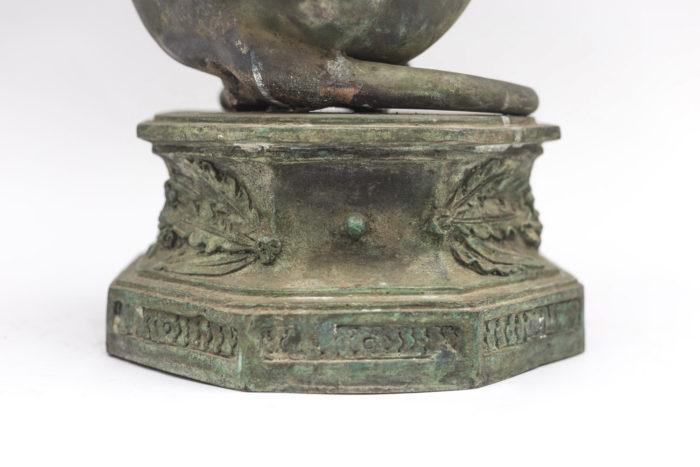 guéridon lévrier base bronze
