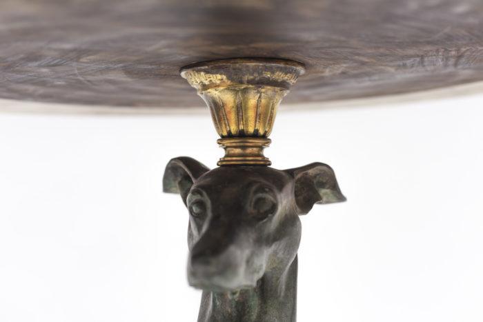 guéridon lévrier bronze tête chien