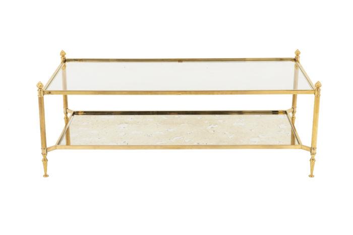 jansen table basse laiton doré verre miroir
