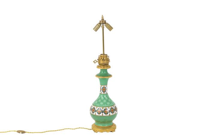 lampes porcelaine de paris verte bronze doré