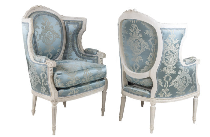 louis xvi style bergeres grey lacquered