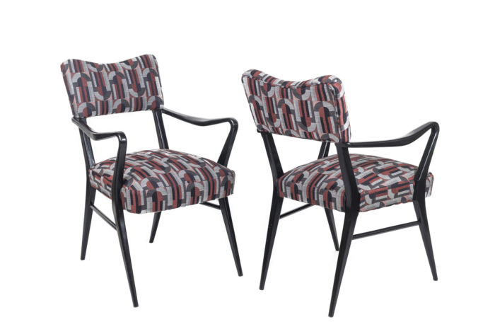 ico parisi style armchairs black lacquered