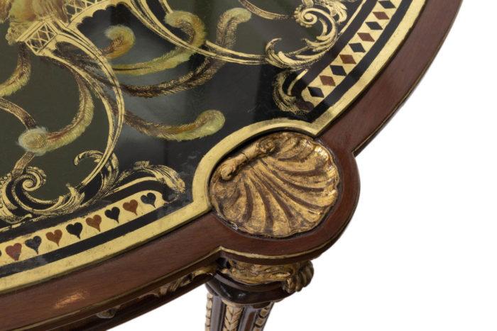 pere cosp table a jeux peinture coquille bois doré