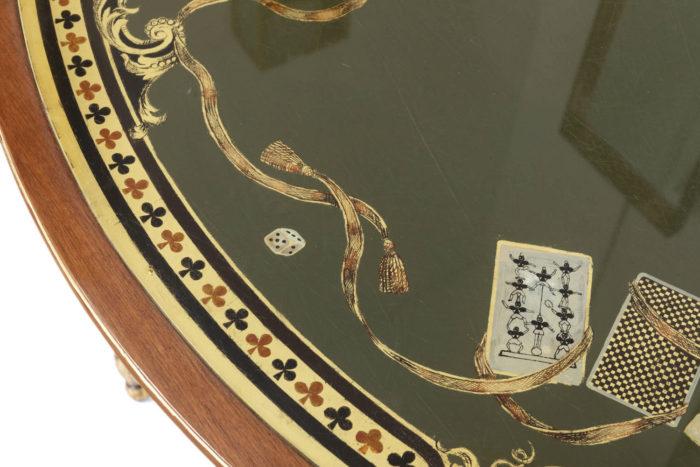 pere cosp table a jeux peinture sous verre dés