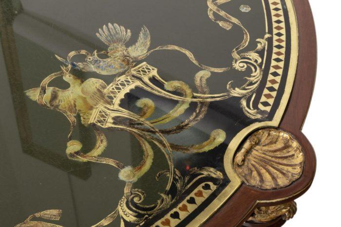 pere cosp table a jeux peinture sous verre oiseaux 2