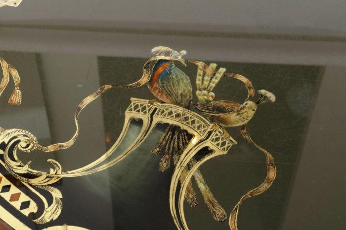 pere cosp table a jeux peinture sous verre oiseaux
