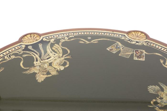 pere cosp table a jeux peinture sous verre oiseaux plateau