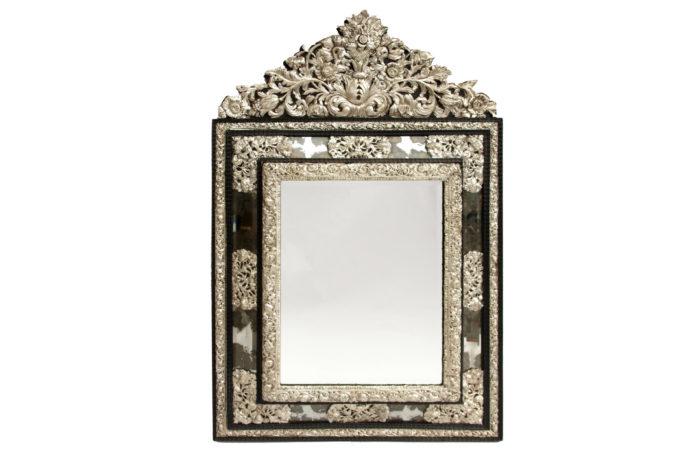 regence style mirror blackened wood embossed brass