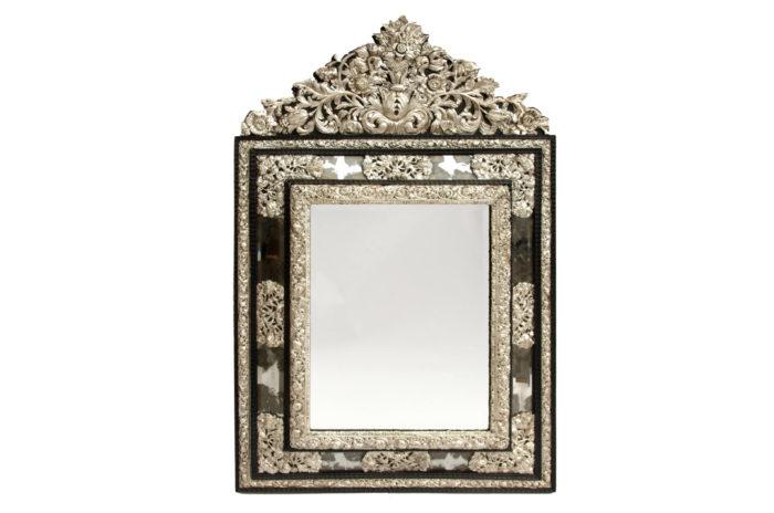 miroir style régence bois noirci laiton repoussé
