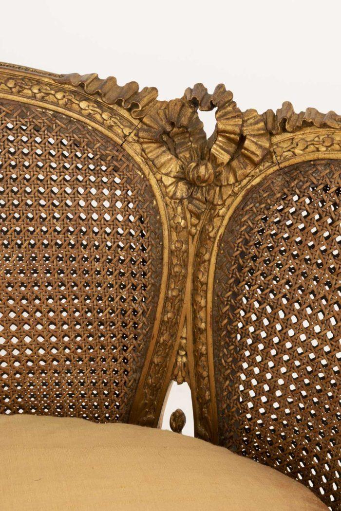 canapé style louis xvi bois doré canné ruban sculpté 2