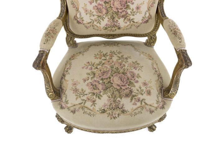 fauteuil style transition bois doré assise tapisserie