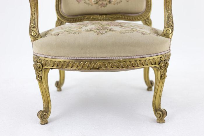 fauteuil style transition bois doré bas