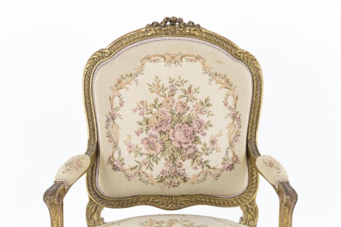 fauteuil style transition bois doré dossier tapisserie
