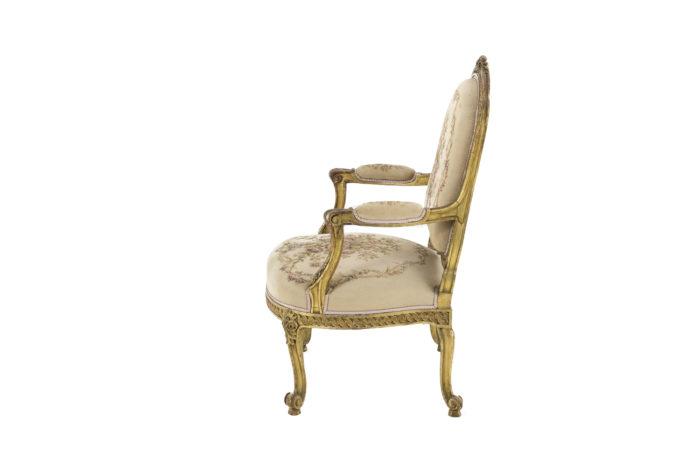 fauteuil style transition bois doré side