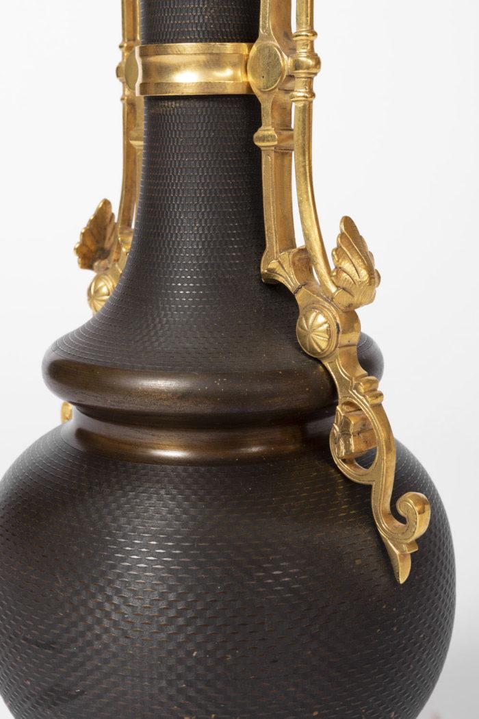 lampe marron anses bronze doré