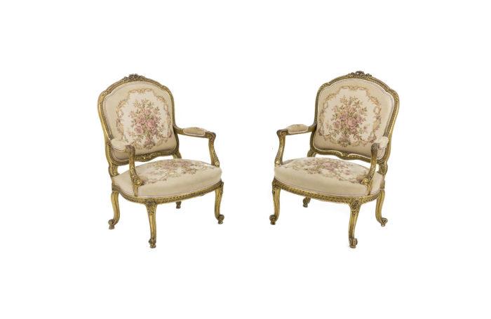 fauteuils style transition bois doré
