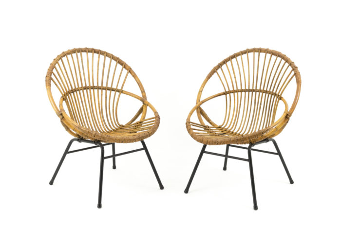 paire fauteuils coquille rotin metal noir