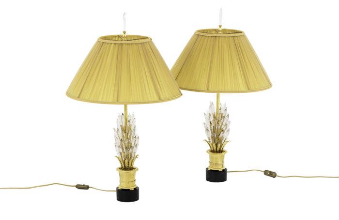 paire lampes cristaux verre laiton doré pcple