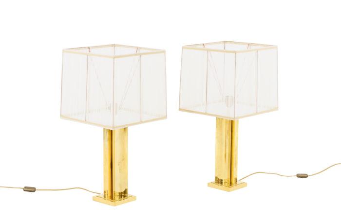 paire lampes laiton doré fut geometrique pcple
