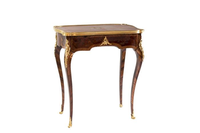 petite table style louis xv marqueterie bronze doré