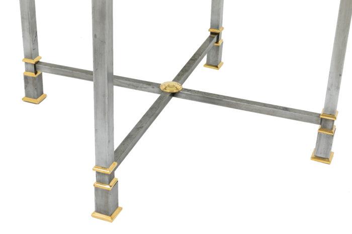 table metal brosse plateau verre circulaire entretoise
