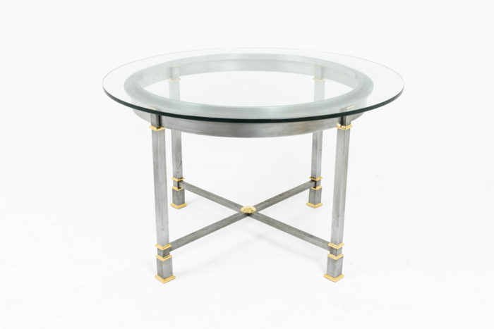 table metal brosse plateau verre circulaire face