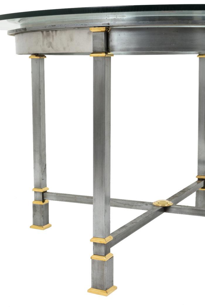 table metal brosse plateau verre circulaire pied