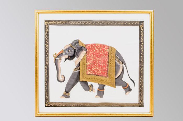 éléphants technique mixte sur papier
